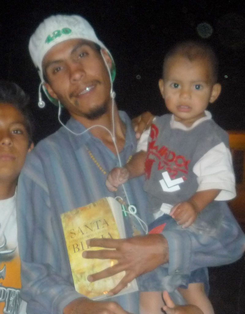 Mario, with his Bible, his Christian music, and his son... One month before he was kidnapped.